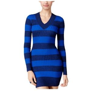 Blue Striped Long Sleeve Sweater Dress M